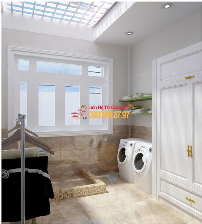 phòng giặt tầng tum